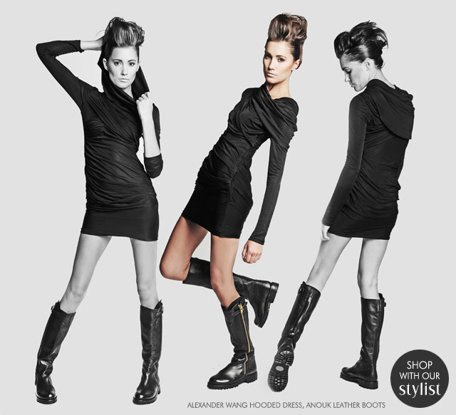 Alexander Wang Hooded Dress_Anouk Leather Boots_Tobi