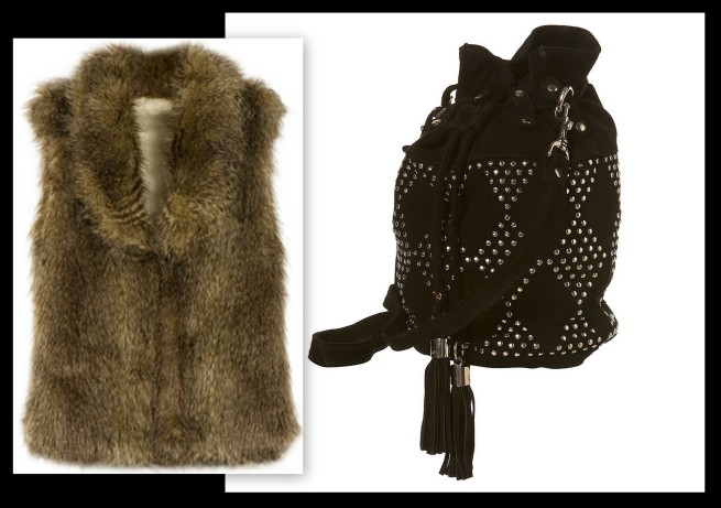 BB Dakota Faux Fur Vest_Topshop Studded Bag